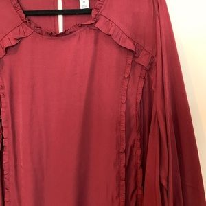 Ava & Viv Tops - AVA & VIV Maroon Red Ruffle Top with Bell Sleeves